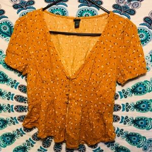Marigold Yellow - Floral Blouse